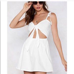 Nasty gal Knit your baby tie mini dress white